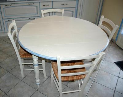 Table ronde relook e amphora artisan meubles peints for Relooker une table en bois